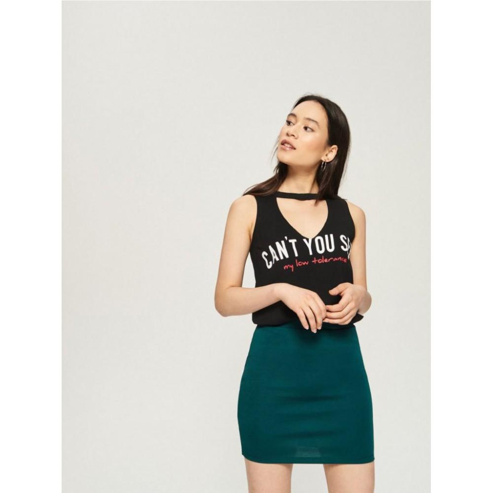 Sinsay women's skirt, mini shapes, green color