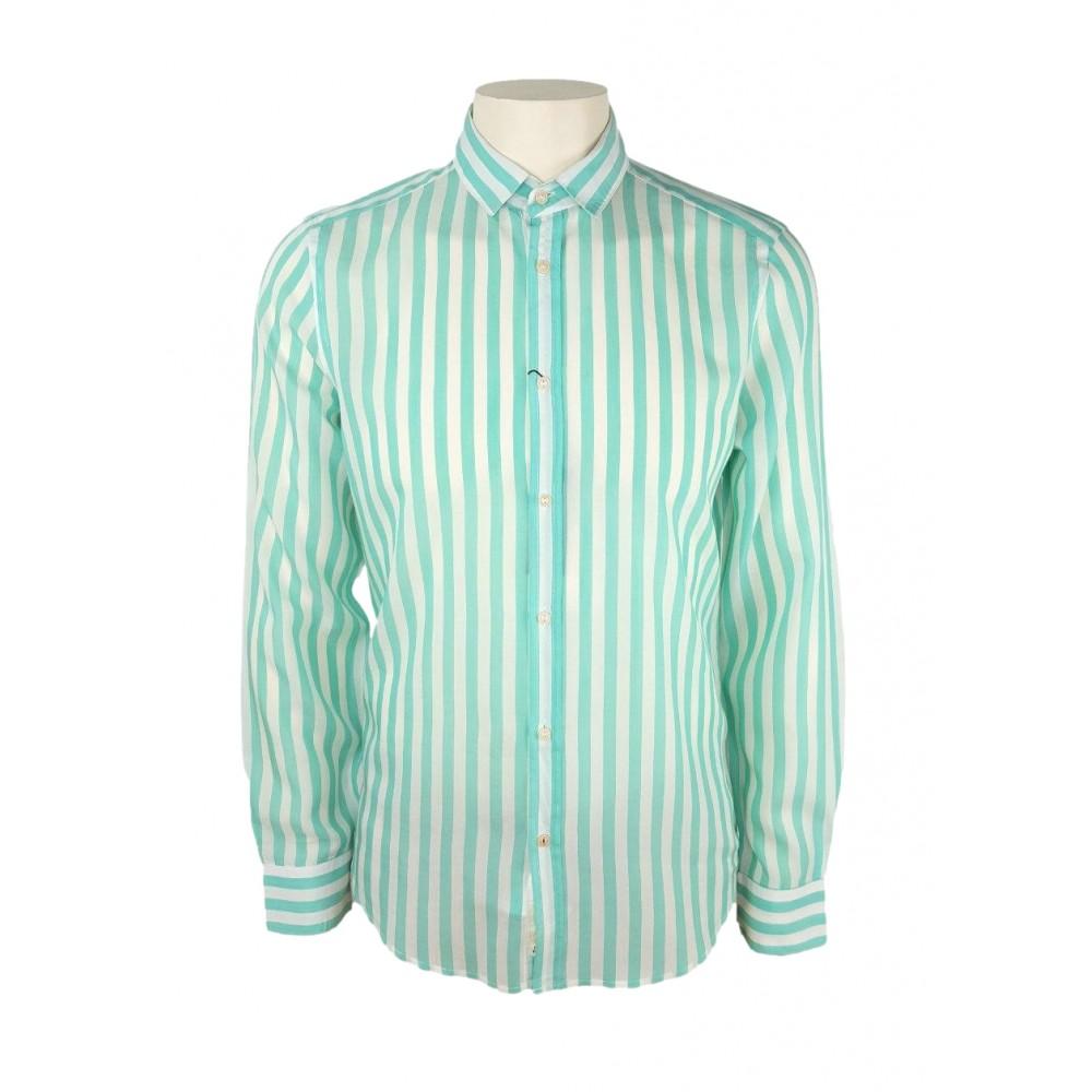 Sisley men's striped shirt, white / mint color 5hm35qeg9 902