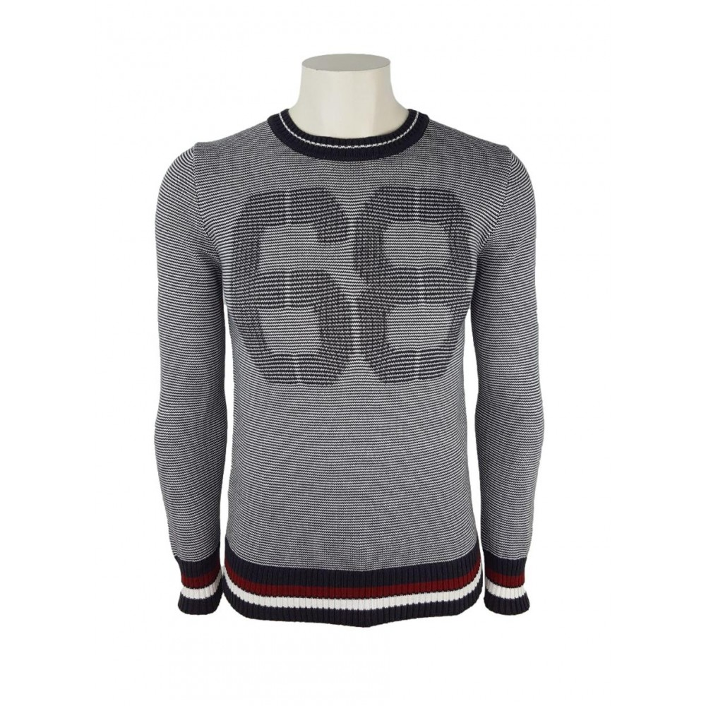 "Sisley men's sweater ""69"" 10ans1932 921 white/ dark grey color, striped"