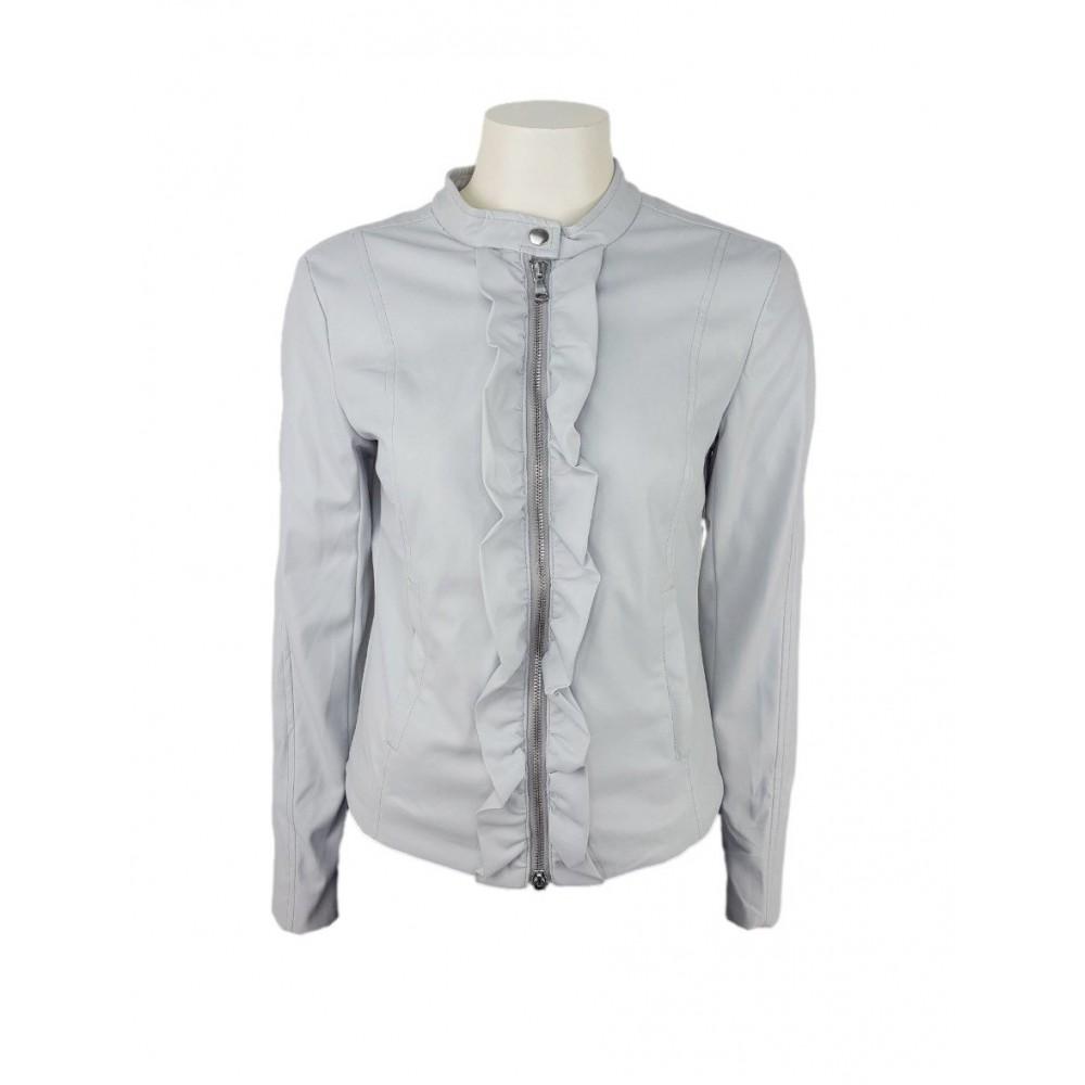 Sisley women's faux leather jacket 2zg4535o7 70y light gray