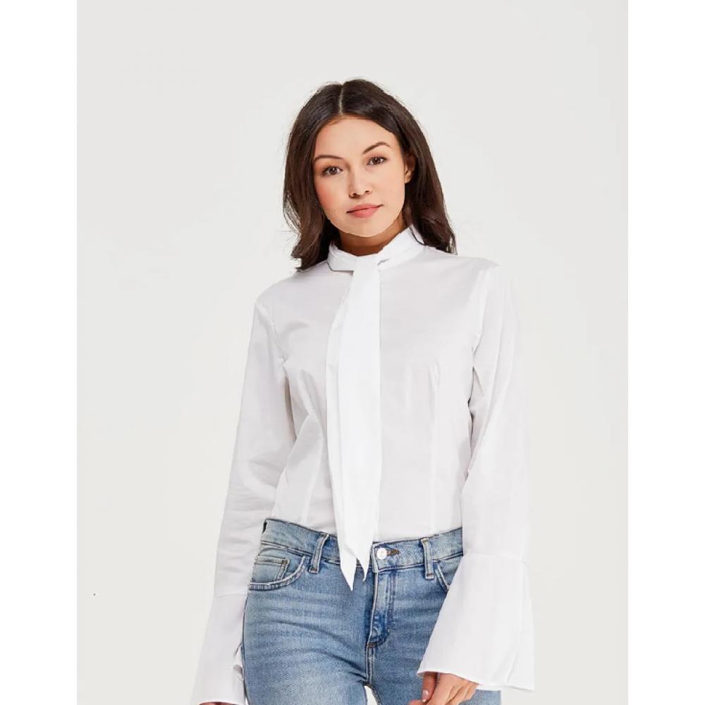 Sisley women's shirt 5zn65q9a6 101 white color