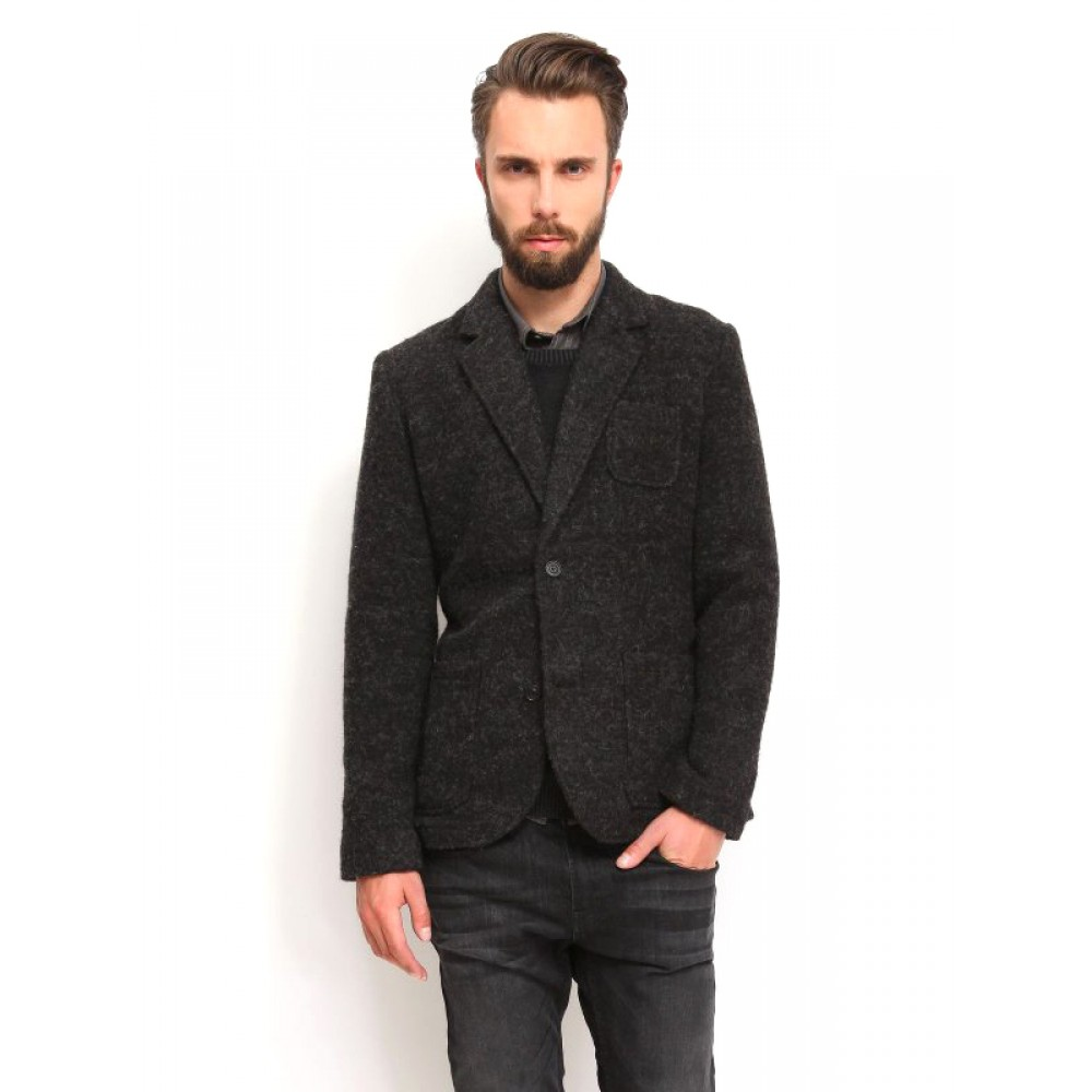 Top Secret Men's Blazer with Wool Black Color