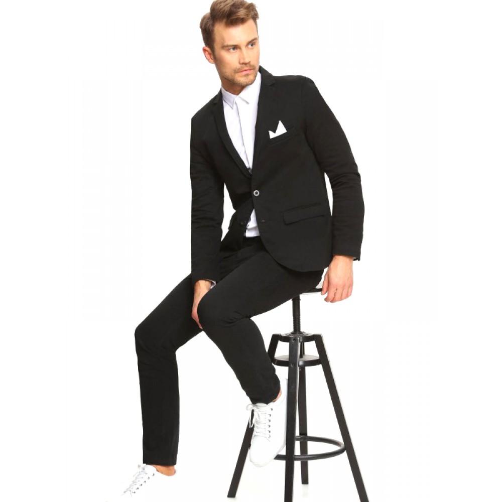 Top Secret Men's Cotton Blazer, Black Color, Slim Fit, Two-Button Front Clasp