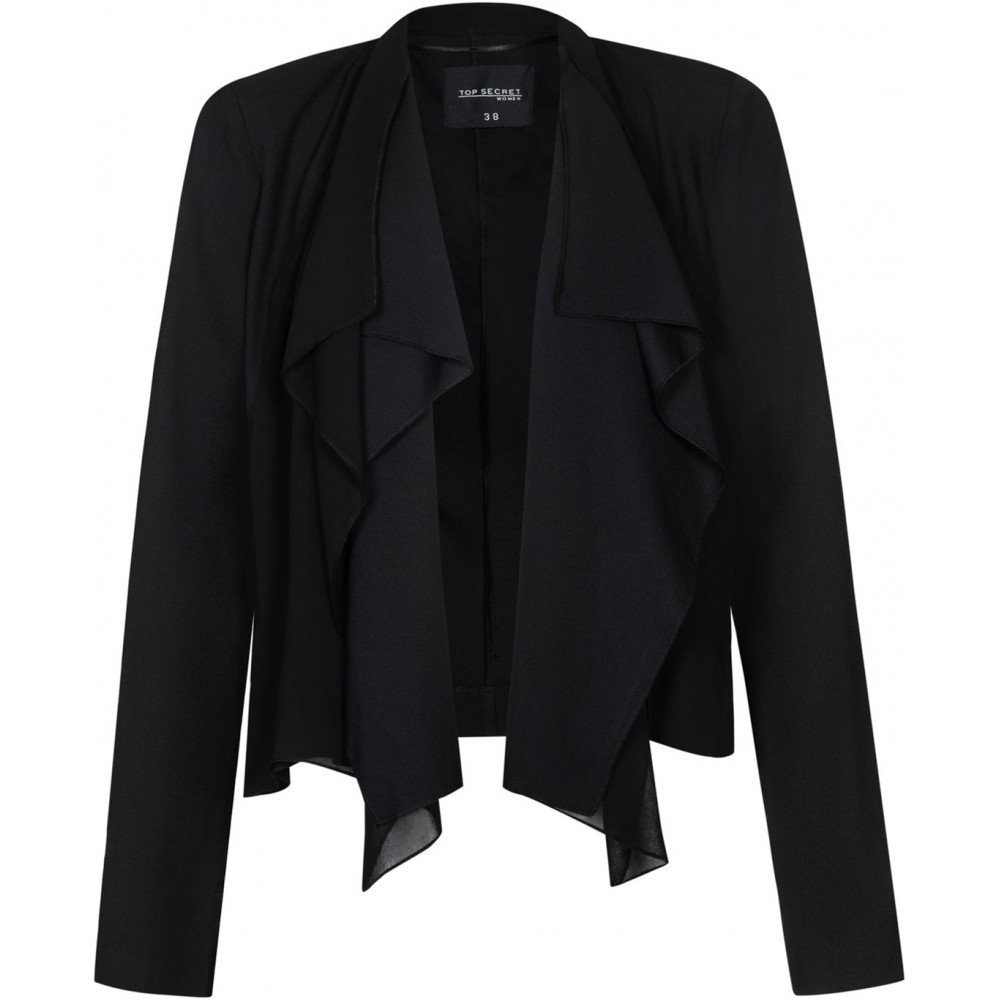 Troll Reserved Women's Blazer, Black Color, Front with Chiffon Pleats