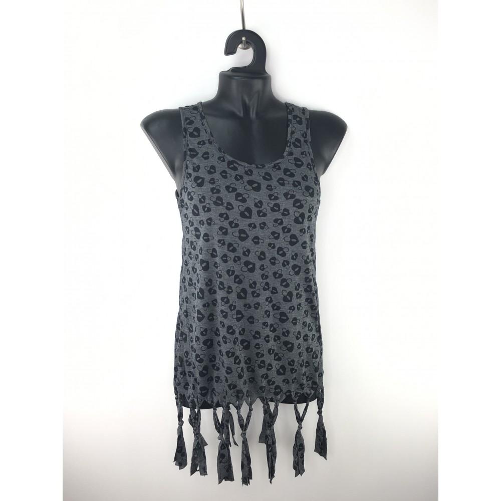 Zelia women's t-shirt, dark gray with tassels at the bottom
