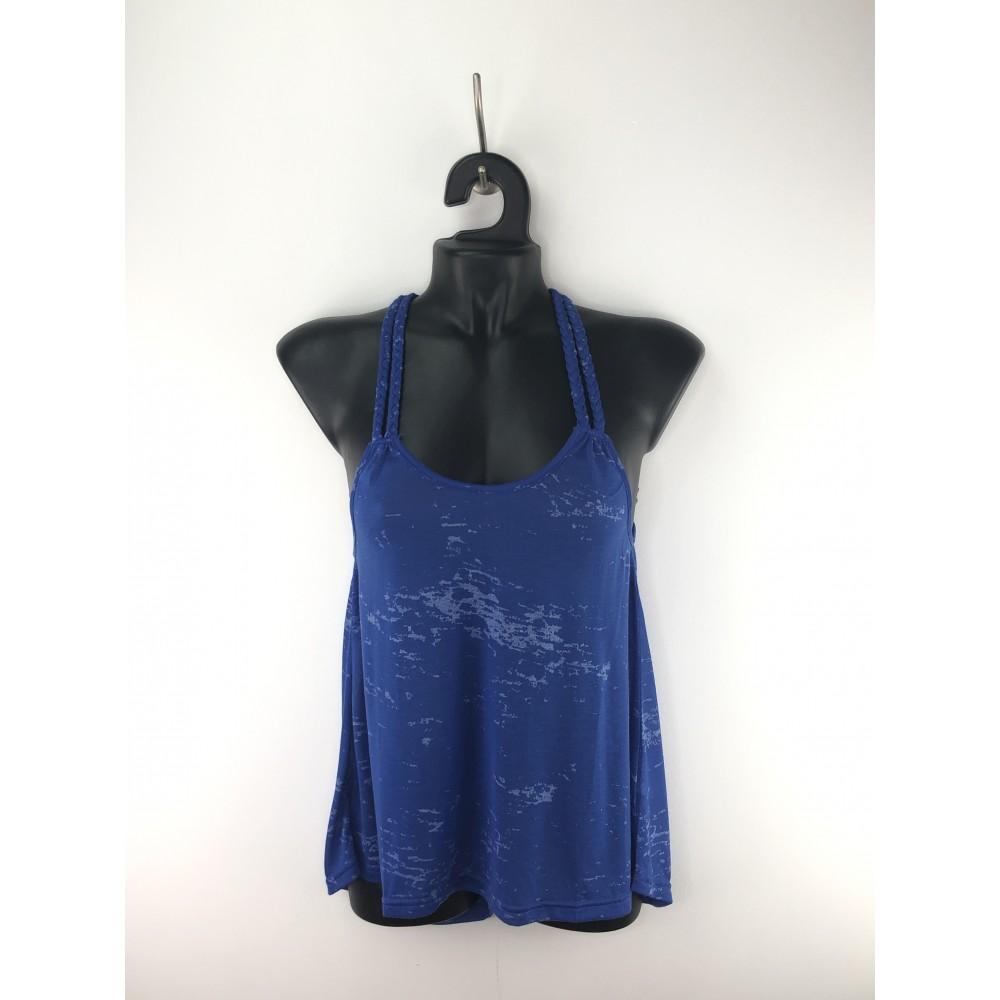Zelia women's t-shirt with braided braces, blue color