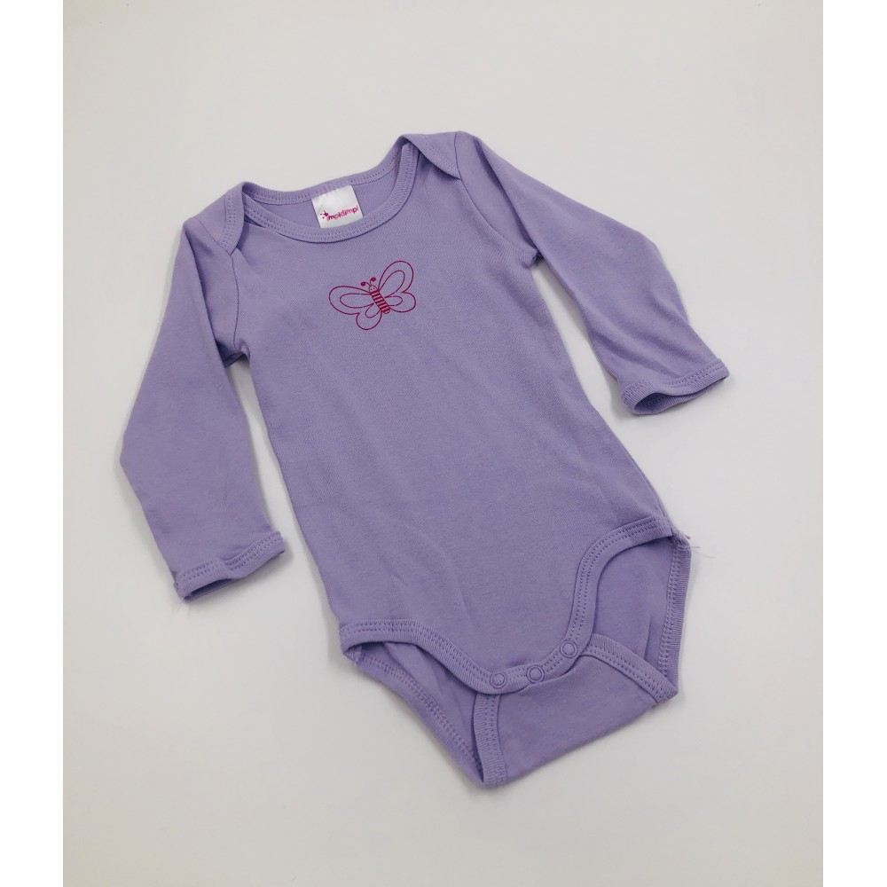 Impidimpi baby bodysuit, purple color, long sleeves