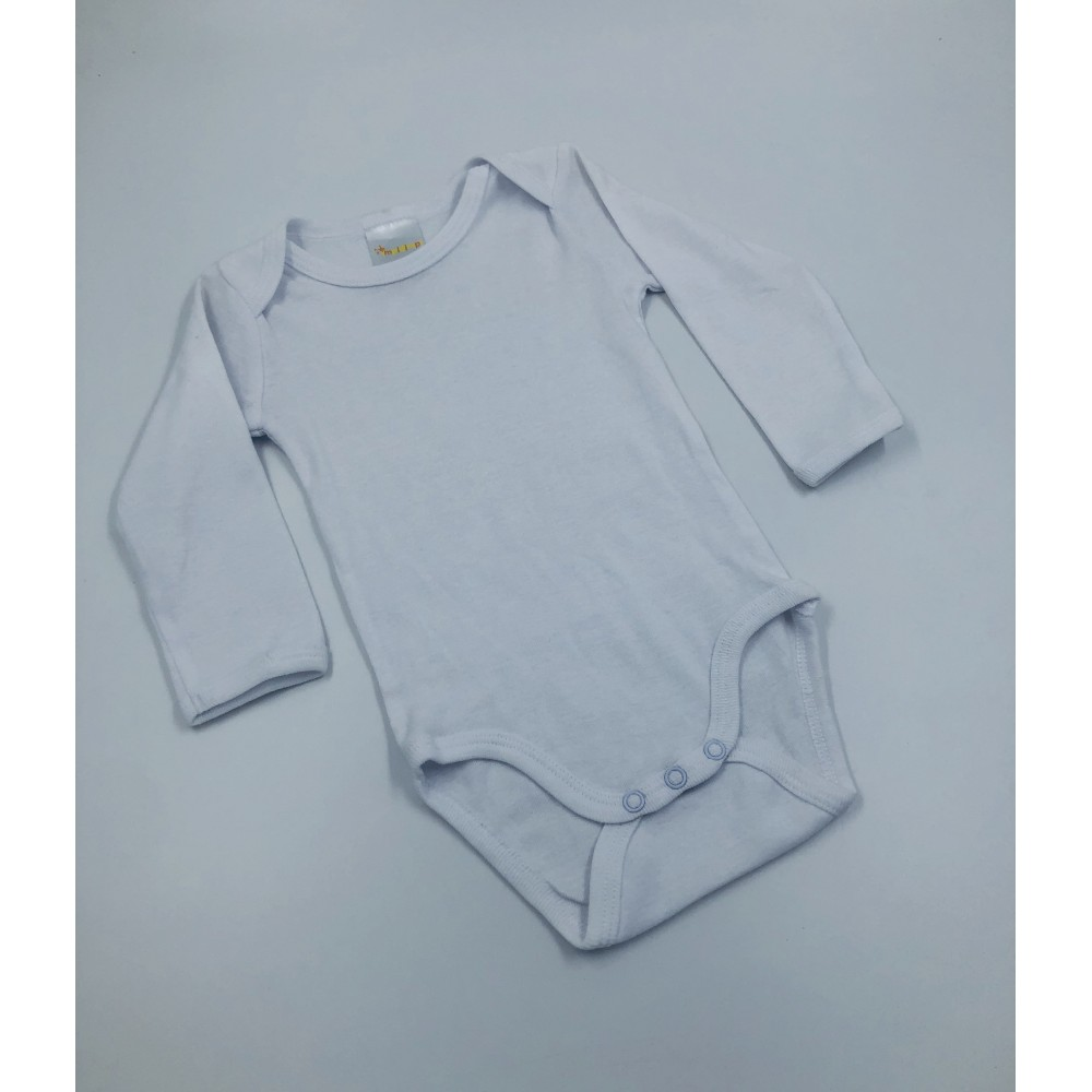 Impidimpi baby bodysuit, white color, long sleeves