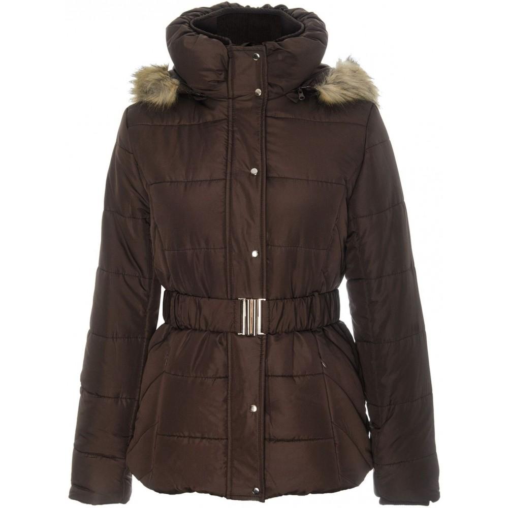 Top secret women's jacket brown color with belt and golden zip